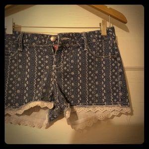 Vintage Betsey Johnson eyelet trim, denim shorts
